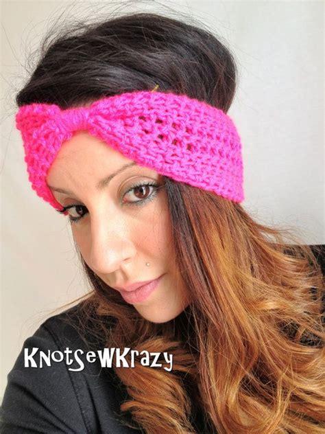 tutorial turban glitter crochet turban bow headband hot glitter pink by