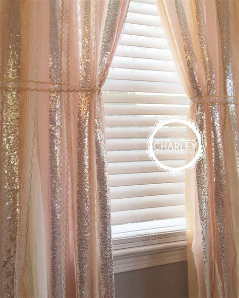 Pink And Gold Curtains Blush Quartz With Silver Sparkle Sequin