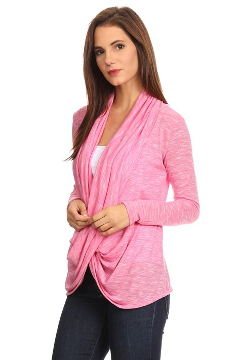 Premium Cross Cardigan Pink s sleeve metallic criss cross cardigan sm 3x athleisure made in usa ebay
