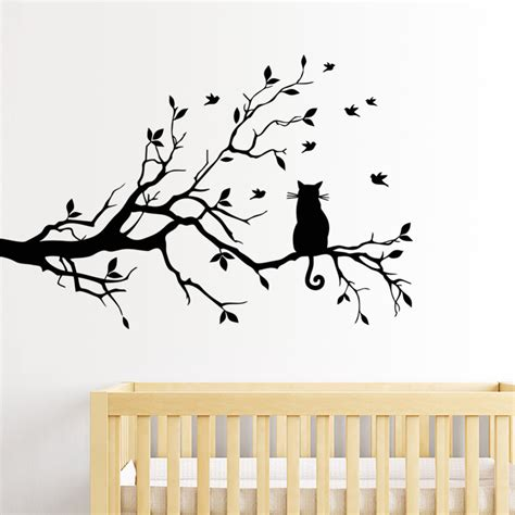 tree wall decals vinyl sticker aliexpress buy cat on tree branch birds wall sticker tree vinyl wall decal adesivi murali