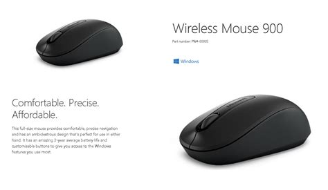microsoft wireless mouse 900 black pw4 00005 shopping