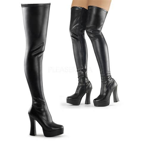 platforms thigh high boots pleaser electra 3000z black mat