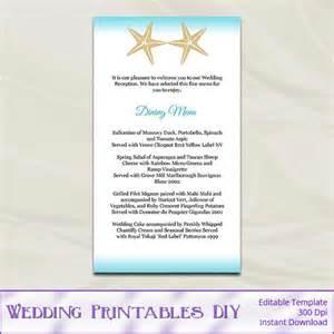 diy starfish wedding menu cards template printable aqua blue