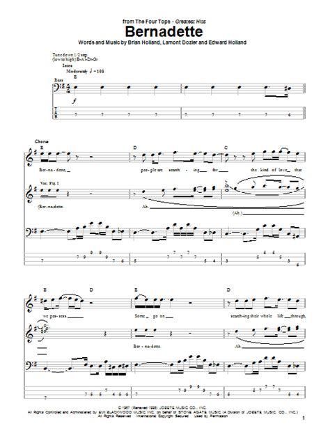 Or Lyrics Bernadette Bernadette Bass Guitar Tab By The Four Tops Bass Guitar Tab 51080