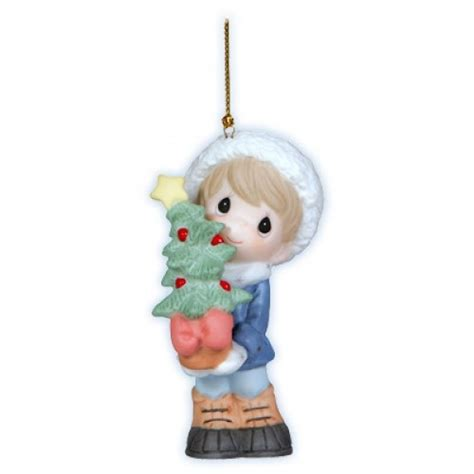 boy with christmas sapling ornament precious moments