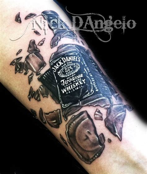 bottle tattoo broken 3d whisky bottle cool tattoos