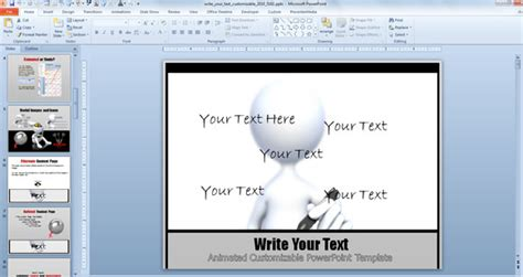 powerpoint animated templates free 2010 customizable write text powerpoint template with animation