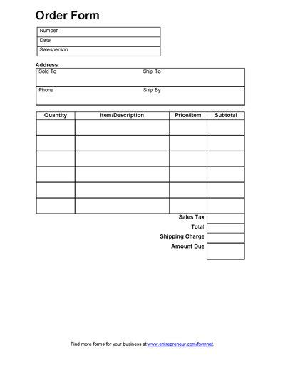 business order form template sales order form order form free printable and free