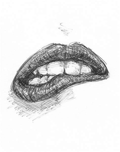 cool pics to draw biting lip drawing drawing pinterest