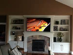 Home Decor Brown Leather Sofa Curved Television Mount Above Fireplace Transitional