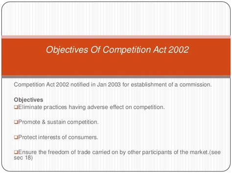 section 3 of competition act presentation on the competition act 2002