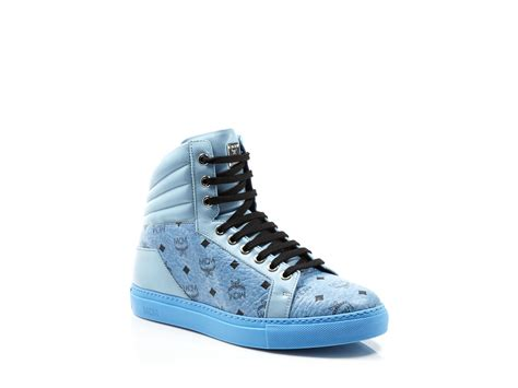 mcm mens sneakers mcm carryover high top sneakers in blue for lyst