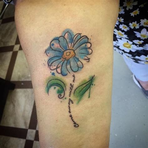 tattoo flower with stem watercolor daisy flower on quoter stem tattoo tattoo pm