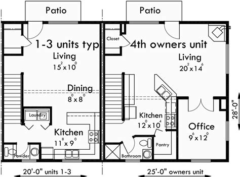 three plex floor plans 4 plex plans fourplex with owners unit quadplex plans f 537