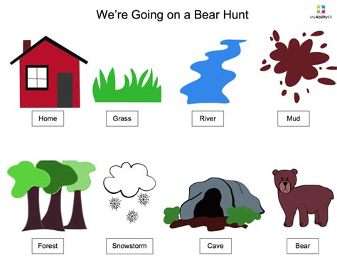 coloring pages for going on a bear hunt song visual aids myabilitykit autism resources