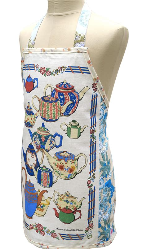 metro retro teapots kitchen vintage tea towel handmade