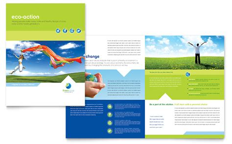 green living recycling brochure template word publisher