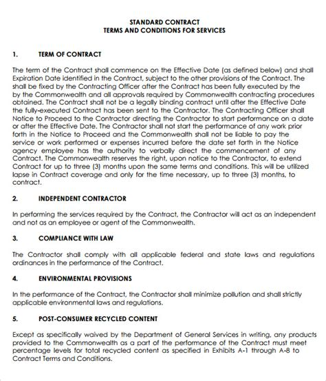 terms of agreement contract template sle service agreement template 6 free documents