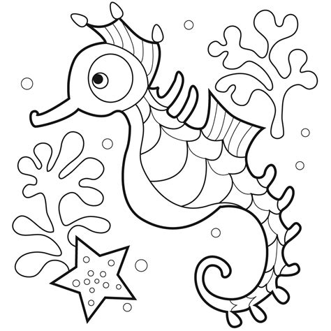 Free Printable Seahorse Coloring Pages For Kids Coloring Book Printing