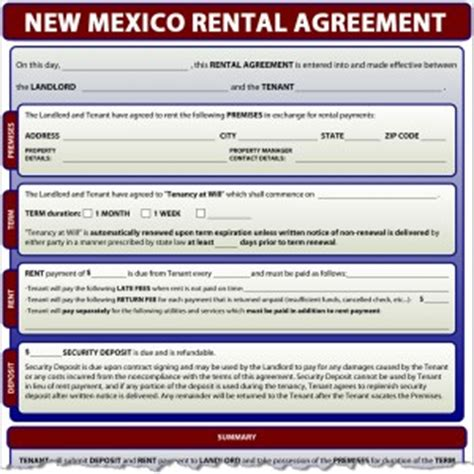printable lease agreement new mexico new mexico rental agreement