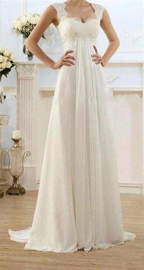 Wedding Dresses Empire Waist by Modest Wedding Gowns Capped Sleeves Empire Waist By