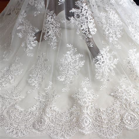 Wedding Dress Material by 1 Meter Lace Sequins Embroidery Lace Diy Craft The