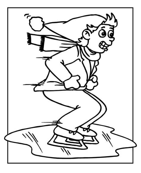 frozen winter coloring pages skating on frozen lake coloring page color