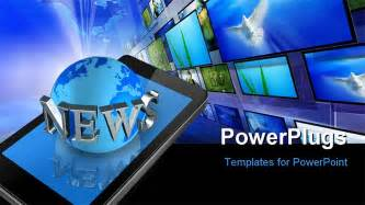 new templates for powerpoint three dimensional mobile phone and news world globe