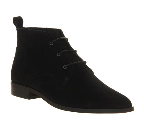 office bobby point lace black suede ankle boots