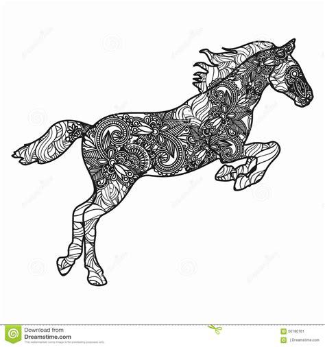 Zentangle Stylized Horse Illustration Hand Drawn Doodle