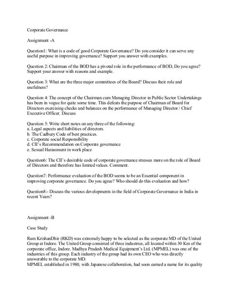 Corporate Governance Mba Assignment by Corporate Governance