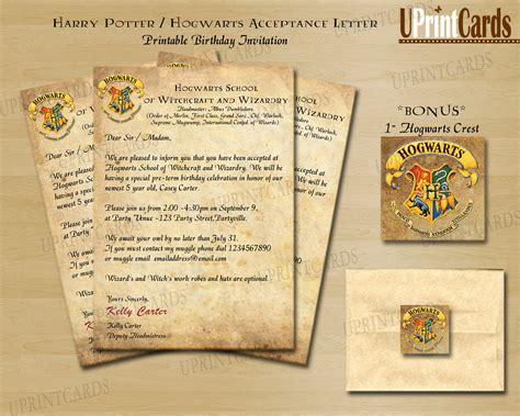 Harry Potter Acceptance Letter Birthday Card Diy Printable Harry Potter Inspired Acceptance By Braikdesign Hp Room