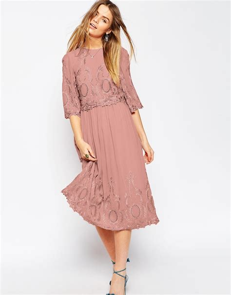 Premium Dress Embroidery Aic asos premium midi embroidered dress in pink lyst