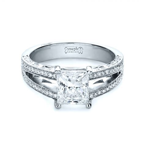 custom split shank princess cut engagement ring 1132