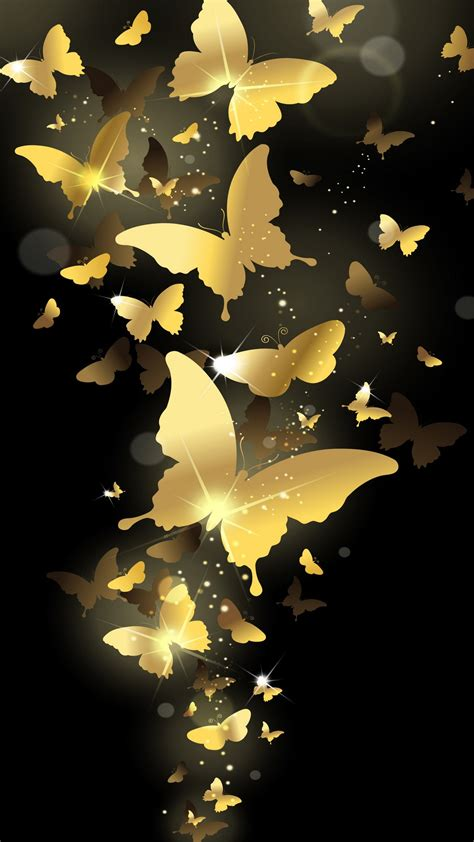 wallpaper gold hd for iphone 6 flying golden butterflies lockscreen iphone 6 plus hd