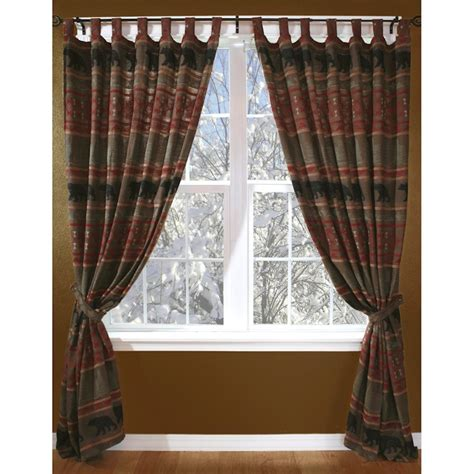 lodge decor curtains bear country drapes