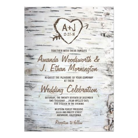 Wedding Invitations Tree Theme by Country Rustic Birch Tree Bark Wedding Invitations Zazzle