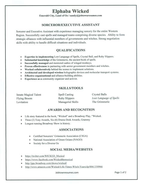 Problem Resumes Elphaba S Wicked Resume The Sandy Sidebar Blog Broadway Resume Template