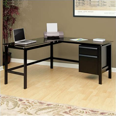 L Shaped Black Glass Desk Studio Rta Glass Top L Shaped Desk In Black 410866
