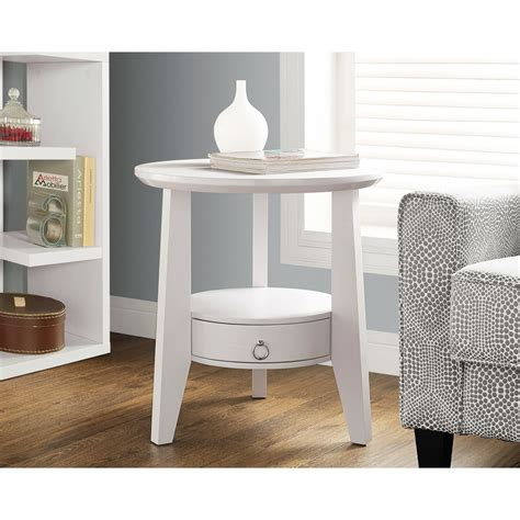 white round end table with drawer monarch specialties i 2492 white round accent table w 1