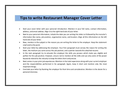 Introduction Letter Restaurant Restaurant Manager Cover Letter Sle Pdf