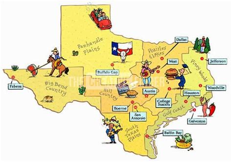 texas attractions map texas travel map by phil scheuer illustration graphic design character design from united
