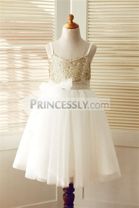Thin Straps Champagne Sequin Ivory Tulle Wedding Flower