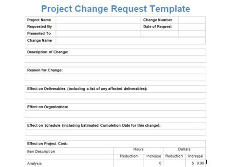 Project Change Request Template Exceltemple Change Request Template For Software Changes