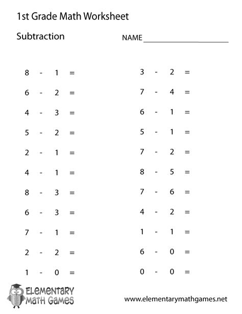 Printable Math Division Worksheets by 1st Grade Subtraction Worksheet New Calendar