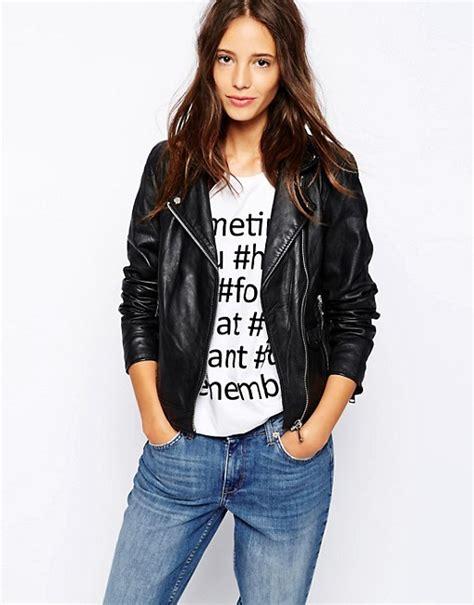 Jeana Pull Biker Black Wash pull pull leather biker jacket
