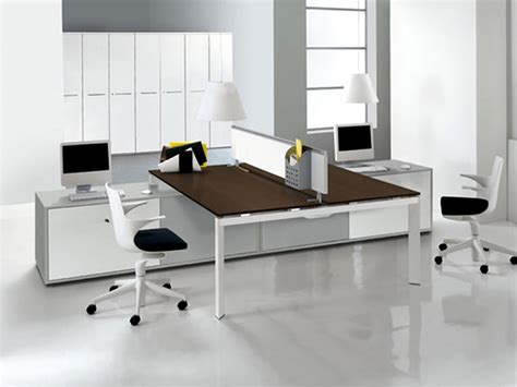 Modern Office Interior Design With Double Entity Desk Modern Desk Furniture Home Office
