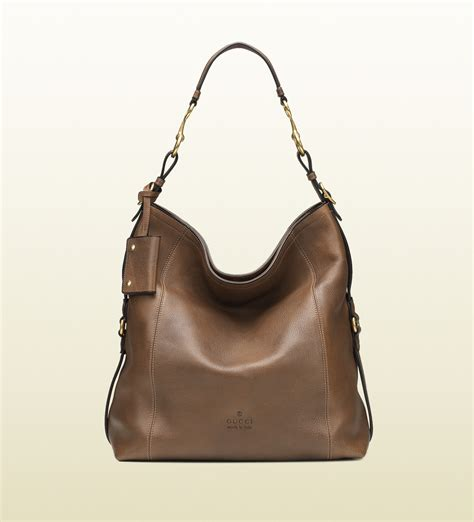 g ci leather brown lyst gucci harness leather hobo in brown