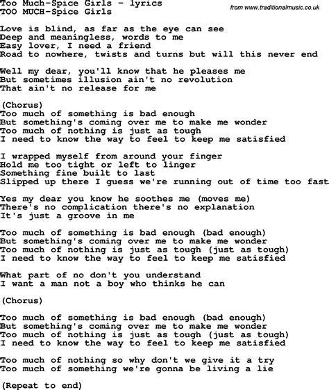 lyrics spice girl wannabe love song lyrics for too much spice girls