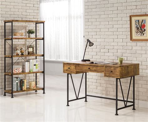 industrial style computer coaster barritt 801541 industrial style writing desk with